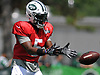 New York Jets quarterback Teddy Bridgewater #5 takes a snap during team practice at the Atlantic Health Jets Training Center in Florham Park, NJ on Sunday, July 29, 2018.