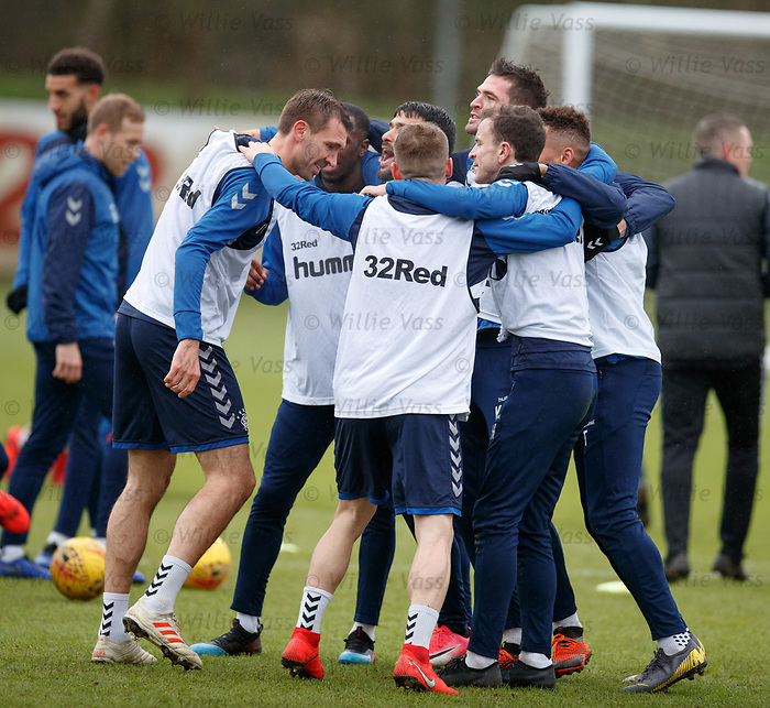 05.02.2019: Rangers training: The white bib team at training celebrate with not quite a huddle as Gareth McAuley makes sure it doesn't complete