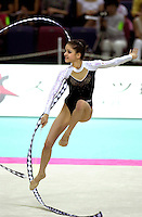 2 OCTOBER 1999 - OSAKA, JAPAN: Teodora Alexandrova of Bulgaria performs with ribbon at the 1999 Rhythmic Gymnastics World Championships in Osaka, Japan. Teodora placed 8th in the individual all around.