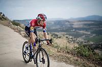 Dutch Champion Fabio Jakobsen (NED/Deceuninck Quick Step) rolling back towards the teambusses after the stage<br /> <br /> Stage 6: Mora de Rubielos to Ares del Maestrat (199km)<br /> La Vuelta 2019<br /> <br /> ©kramon