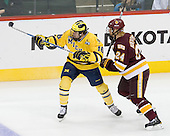 Ben Winnett (Michigan - 16), Mike Montgomery (Duluth - 24) - The University of Minnesota-Duluth Bulldogs defeated the University of Michigan Wolverines 3-2 (OT) to win the 2011 D1 National Championship on Saturday, April 9, 2011, at the Xcel Energy Center in St. Paul, Minnesota.