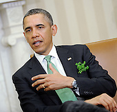 United States President Barack Obama speaks during a meeting with Prime Minister Enda Kenny of Ireland in the Oval Office of the White House March 19, 2013 in Washington, DC. .Credit: Olivier Douliery / Pool via CNP