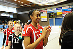 Rüsselsheim, Germany, April 13: Norisha Campbell #17 of the Rote Raben Vilsbiburg celebrates the win over VC Wiesbaden after play off Game 1 in the best of three series in the semifinal of the DVL (Deutsche Volleyball-Bundesliga Damen) season 2013/2014 between the VC Wiesbaden and the Rote Raben Vilsbiburg on April 13, 2014 at Grosssporthalle in Rüsselsheim, Germany. Final score 0:3 (Photo by Dirk Markgraf / www.265-images.com) *** Local caption ***