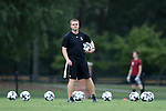 ELON, NC - SEPTEMBER 02: Presbyterian head coach Jonathan Potter (ENG). The Elon University Phoenix hosted the Presbyterian College Blue Hose on September 2, 2017 at Rudd Field in Elon, NC in a Division I college soccer game. Elon won the game 2-0.