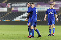 Pictured: A Cardiff player is held back by a team mate.  Tuesday 01 May 2018<br /> Re: Swansea U19 v Cardiff U19 FAW Youth Cup Final at the Liberty Stadium, Swansea, Wales, UK
