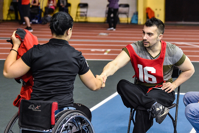 MONTREAL, QC - APRIL 29:  Cindy Ouellet introduces herself to a participant during the 2017 Montreal Paralympian Search at Complexe sportif Claude-Robillard. Photo: Minas Panagiotakis/Canadian Paralympic Committee