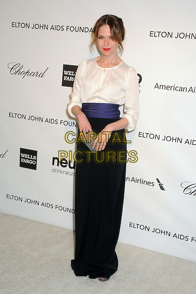 Katie Aselton.21st Annual Elton John Academy Awards Viewing Party held at West Hollywood Park, West Hollywood, California, USA..February 24th, 2013.oscars full length black white sheer blouse purple waistband clutch bag skirt.CAP/ADM/BP.©Byron Purvis/AdMedia/Capital Pictures.