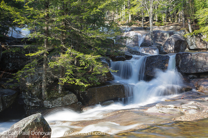"Diana's Baths in Bartlett, New Hampshire USA during the spring months. Diana's Baths is a series of small cascades located on Lucy Brook. Remnants of the old 1800s ""Lucy's Mill"" can be found in this area. The Lucy family owned this sawmill, and they abandoned it in the 1940s."