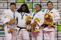 Gold medalist Idalys Ortiz (2nd L) of Cuba, silver medalist Maryna Slutskaya (L) of Belarus with bronze medalists Yanan Jiang (R) of China and Nihel Cheikh Rouhou (2nd R) of Tunisia celebrate their victory during an awards ceremony after the Women +78 kg category at the Judo Grand Prix Budapest 2018 international judo tournament held in Budapest, Hungary on Aug. 12, 2018. ATTILA VOLGYI