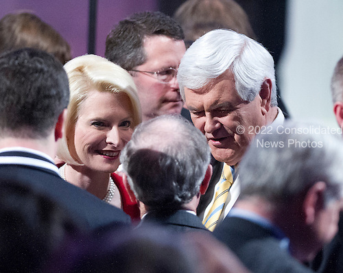 Callista Gingrich, President, Gingrich Productions, left, and former Speaker of the United States House Newt Gingrich (Republican of Georgia), right, a candidate for the 2012 Republican Party nomination for President of the United States, greet supporters after he made remarks at the 2012 CPAC Conference at the Marriott Wardman Park Hotel in Washington, D.C. on Friday, February 10, 2012..Credit: Ron Sachs / CNP