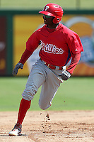 Philadelphia Phillies outfielder Kyrell Hudson #12 running the bases during an Instructional League game against the Pittsburgh Pirates at Bright House Field on October 13, 2011 in Clearwater, Florida.  (Mike Janes/Four Seam Images)