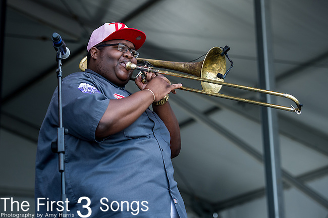 Paul Robertson of the Soul Rebels performs during the New Orleans Jazz & Heritage Festival in New Orleans, LA.