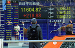 February 25, 2013, Tokyo, Japan - Tokyo stocks are traded in the 11,600 range, the highest level since September 29. 2008, during the morning session on the Tokyo Stock Exchange market on Monday, February 25, 2013. The news the government is likely to nominate Asian Development Bank President Haruhiko Kuroda, an advocate of aggressive monetary easing, as the next Bank of Japan governor prompted investors to buy stocks.  (Photo by Natsuki Sakai/AFLO)