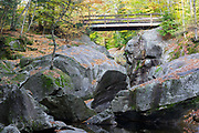 Sculptured Rocks Natural Area in Groton, New Hampshire during the autumn months. This gorge was shaped during the Great Ice Age.