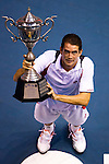 BANGKOK, THAILAND - OCTOBER 03:  Guillermo Garcia-Lopez of Spain poses with the trophy after winning the singles final match against Jarkko Nieminen of Finland during the Day 9 of the PTT Thailand Open at Impact Arena on October 3, 2010 in Bangkok, Thailand.  Photo by Victor Fraile / The Power of Sport Images