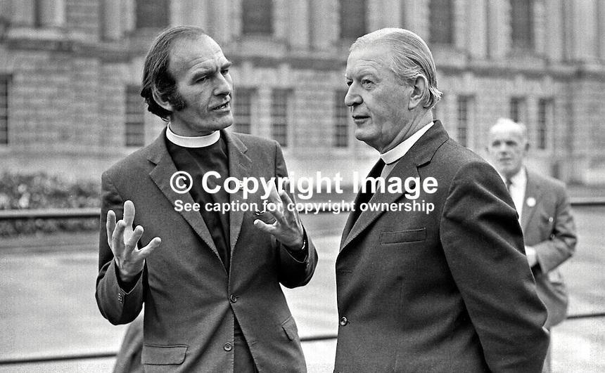 Rev Joseph Parker, a Church of Ireland clergyman (left), who is taking part in a fast to raise funds for the Claudy Massacre victims at Belfast City Hall, is visited by the Bishop of Connor Most Rev Arthur H Butler. The Claudy bombings, in which nine died, occurred on the 31st July 1972. Rev Parker lost his own son, Stephen Parker, 14 years, in a car bomb blast at a row of shops on the Cavehill Road. Stephen was awarded the Queen's Commendation for bravery for his efforts in warning people about the device. 197209210576JP1.<br />