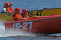 "Kathy Schuler, JS-27 (Jersey Speed Skiff) and Gerri Prusko, JS-47 ""My Precious"" (50/60's Bender reproduction Jersey Speed Skiff)"