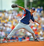 12 March 2008: Washington Nationals' pitcher Mike O'Connor on the mound during a Spring Training game against the Los Angeles Dodgers at Holman Stadium, in Vero Beach, Florida. The Nationals defeated the Dodgers 10-4 at the historic Dodgertown ballpark. 2008 marks the final season of Spring Training at Dodgertown for the Dodgers, as the team will move to new training facilities in Arizona starting in 2009 after 60 years in Florida...Mandatory Photo Credit: Ed Wolfstein Photo