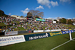 Good numbers of people enjoy the sun &  rugby from the Growers embankment. Counties Manukau Premier Club Rugby final between Patumahoe & Waiuku played at Bayers Growers Stadium Pukekohe on Saturday August 8th 2009. Patumahoe won 11 - 9 after leading 11 - 6 at halftime.