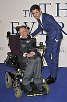 LONDON, ENGLAND - DECEMBER 09: Professor Stephen Hawking &amp; Eddie Redmayne attend the &quot;The Theory of Everything&quot; UK film premiere, Odeon Leicester Square cinema, Leicester Square, on Tuesday December 09, 2014 in London, England, UK. <br /> CAP/CAN<br /> &copy;Can Nguyen/Capital Pictures /MediaPunch ***NORTH AND SOUTH AMERICAS ONLY***