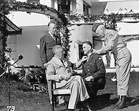President Roosevelt with Major General George S. Patton, Jr., affixing the Congressional Medal of Honor upon Brig. General William H. Wilbur at Casablanca Conference, 1943 (LOC)