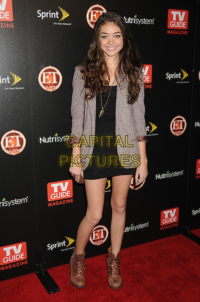 SARAH HYLAND .TV Guide Magazine's Hot List Party 2009 held at the SLS Hotel, Los Angeles, California, USA, .10th November 2009..full length black dress brown tweed jacket ankle lace-up boots .CAP/ADM/BP.©Byron Purvis/Admedia/Capital Pictures