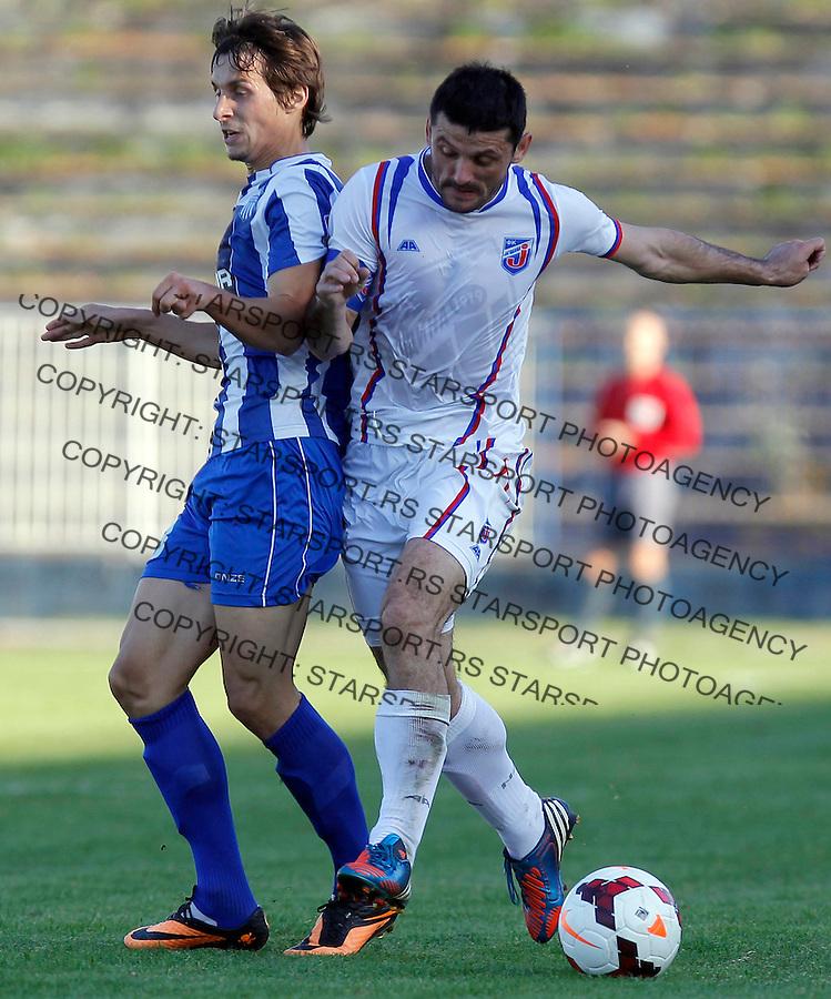 Fudbal Super liga season 2013-2014<br /> Ofk Beograd v Jagodina<br /> Ivan Cvetkovic (R) and Aleksandar Palocevic<br /> Beograd, 09.11.2013.<br /> foto: Srdjan Stevanovic/Starsportphoto &copy;