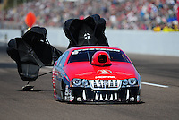 Feb. 18, 2012; Chandler, AZ, USA; NHRA pro stock driver V. Gaines during qualifying for the Arizona Nationals at Firebird International Raceway. Mandatory Credit: Mark J. Rebilas-