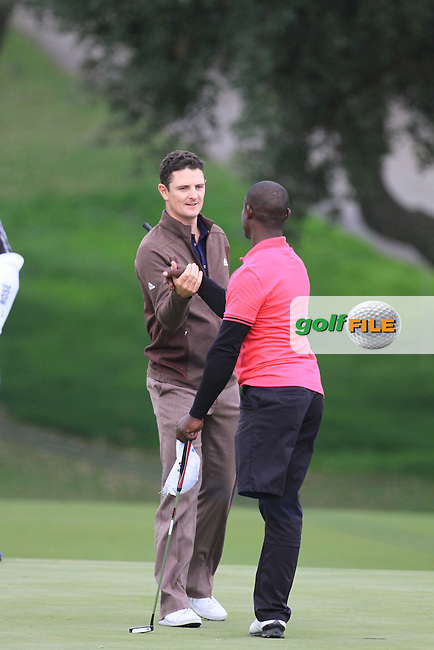 Justin Rose and one legged golfer Manuel de los Santos during the pro-am at the  Andalucía Masters at Club de Golf Valderrama, Sotogrande, Spain. .Picture Fran Caffrey www.golffile.ie