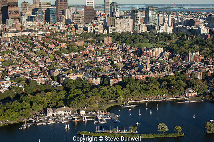 Beacon Hill and Community boating, aerial Boston, MA