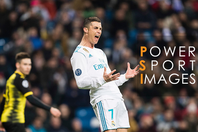 Cristiano Ronaldo of Real Madrid gestures during the Europe Champions League 2017-18 match between Real Madrid and Borussia Dortmund at Santiago Bernabeu Stadium on 06 December 2017 in Madrid Spain. Photo by Diego Gonzalez / Power Sport Images