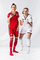 L-R Alicia Powe and Katy Hosford<br />Swansea City FC kit photo shoot at the Liberty Stadium, Wales, UK. Wednesday 03 May 2017