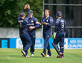 ICC World T20 Qualifier - GROUP B MATCH - SCOTLAND V UAE at Grange CC, Edinburgh - Scotland bowler Michael Leask (centre) celebrates a wicket - 09.07.15 - 07702 319 738 -clanmacleod@btinternet.com - www.donald-macleod.com