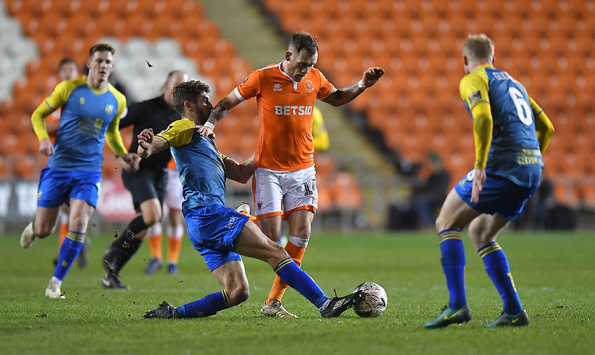 Blackpool's Harry Pritchard tries to find a way past the Solihull Moors defence<br /> <br /> Photographer Dave Howarth/CameraSport<br /> <br /> The Emirates FA Cup Second Round Replay - Blackpool v Solihull Moors - Tuesday 18th December 2018 - Bloomfield Road - Blackpool<br />  <br /> World Copyright © 2018 CameraSport. All rights reserved. 43 Linden Ave. Countesthorpe. Leicester. England. LE8 5PG - Tel: +44 (0) 116 277 4147 - admin@camerasport.com - www.camerasport.com