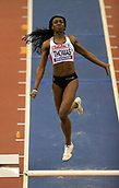 10th February 2019, Arena Birmingham, Birmingham, England; Spar British Athletics Indoor Championships; Jahisha Thomas  competes in the Women's long jump during Day Two of the Spar Indoor Athletics Championships at Birmingham Arena
