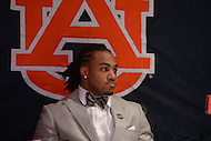 Tre Mason, tailback for the Auburn University Tigers, speaks to the media as a Heisman Trophy finalist.    (Photo by Don Baxter/Media Images International)