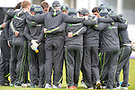 The Ireland team huddle at the Ireland v England One Day Cricket International held at Malahide Cricket Club, Dublin, Ireland. 8th May 2015.<br /> Photo: Joe Curtis/www.newsfile.ie