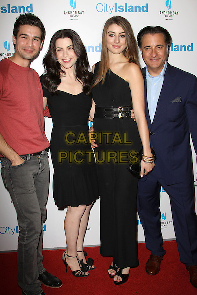 "STEVEN STRAIT, JULIANA MARGULIES, DOMINIK GARCIA-LORIDO & ANDY GARCIA .Los Angeles Premiere of ""City Island"" held At The Landmark Theatre, Los Angeles, California, USA, .15th March 2010..full length blue navy suit shirt jacket red black family father daughter dad jumper top dress one shoulder catsuit jumpsuit sandals jeans grey gray denim .CAP/ADM/KB.©Kevan Brooks/Admedia/Capital Pictures"