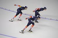 SCHAATSEN: CALGARY: Olympic Oval, 09-11-2013, Essent ISU World Cup, Team Pursuit, Ewen Fernandez, Benjamin Macé, Alexis Contin (FRA), ©foto Martin de Jong
