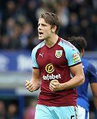 1st October 2017, Goodison Park, Liverpool, England; EPL Premier League Football, Everton versus Burnley; James Tarkowski of Burnley reacts at the final whistle as his team win 0-1