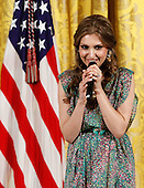 Afghan singer Mozdah Jamalzadah performs during a reception in honor of International Women's Day hosted by United States President Barack Obama and first lady Michelle Obama at the East Room of the White House Monday, March 8, 2010 in Washington, DC. The reception honored women from around the world and their achievements. .Credit: Alex Wong - Pool via CNP