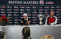 Post media interview for Matthew Fitzpatrick (ENG) winner of the Final Round of the British Masters 2015 supported by SkySports played on the Marquess Course at Woburn Golf Club, Little Brickhill, Milton Keynes, England.  11/10/2015. Picture: Golffile | David Lloyd<br /> <br /> All photos usage must carry mandatory copyright credit (© Golffile | David Lloyd)