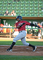 Brawlun Gomez (32) of the Idaho Falls Chukars at bat against the Ogden Raptors in Pioneer League action at Lindquist Field on June 23, 2015 in Ogden, Utah. Idaho Falls beat the Raptors 9-6. (Stephen Smith/Four Seam Images)