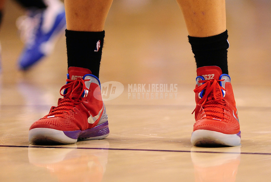 Mar. 2, 2012; Phoenix, AZ, USA; Detailed view of the Nike shoes worn by Los Angeles Clippers forward Blake Griffin against the Phoenix Suns at the US Airways Center. The Suns defeated the Clippers 81-78. Mandatory Credit: Mark J. Rebilas-USA TODAY Sports