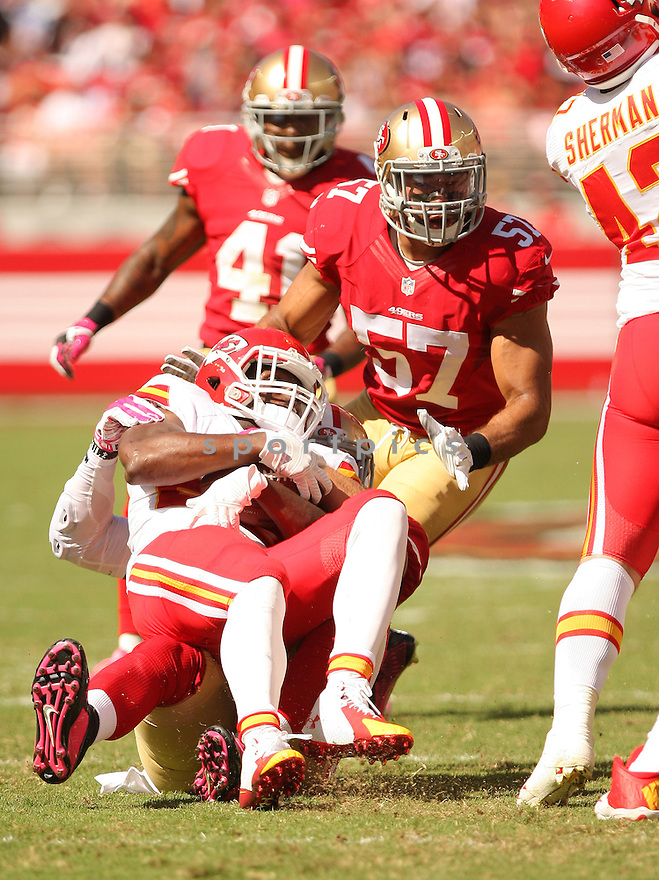 San Francisco 49ers Michael Wilhoite (57) during a game against the Kansas City Chiefs on October 5, 2014 at Levi's Stadium in Santa Clara, CA. the 49ers beat the Chiefs 22-17.