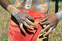 'Painting Up' Kuranda Dancer,  Laura Aboriginal Dance Festival, Laura, Cape York Peninsula, Queensland, Australia.