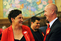 Pictured L-R: Gower candidate Tonia Antoniazzi and MP Geraint Davies. Friday 09 June 2017<br /> Re: Counting of ballots at Brangwyn Hall for the general election in Swansea, Wales, UK