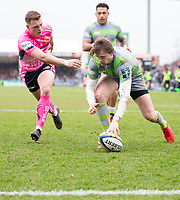 Newcastle Falcons' Simon Hammersley scores his side's second try<br /> <br /> Photographer Bob Bradford/CameraSport<br /> <br /> Anglo Welsh Cup Semi Final - Exeter Chiefs v Newcastle Falcons - Sunday 11th March 2018 - Sandy Park - Exeter<br /> <br /> World Copyright &copy; 2018 CameraSport. All rights reserved. 43 Linden Ave. Countesthorpe. Leicester. England. LE8 5PG - Tel: +44 (0) 116 277 4147 - admin@camerasport.com - www.camerasport.com