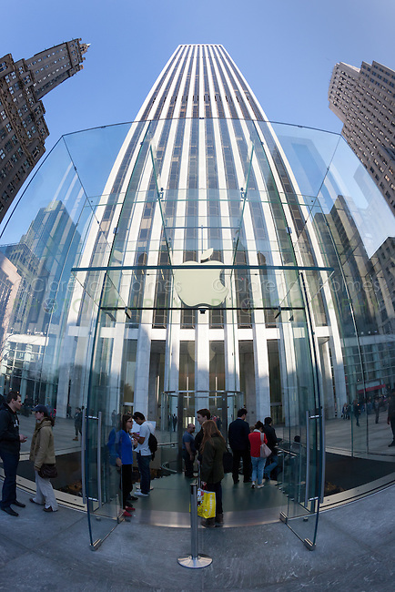 The entrance to the flagship Apple store on 5th Avenue in New York City
