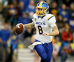 BROOKINGS, SD - APRIL 25: South Dakota State University quarterback Cody Hazlett, #8, playing for Blue, looks for a receiver in their Spring Game Saturday afternoon at the Sanford Jackrabbit Athletic Facility in Brookings. (Photo by Dave Eggen/Inertia)